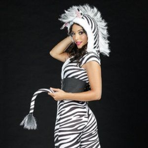 Dreamgirl Costume, Zebralicious Punk inspired zip front stretch (3 piece set)